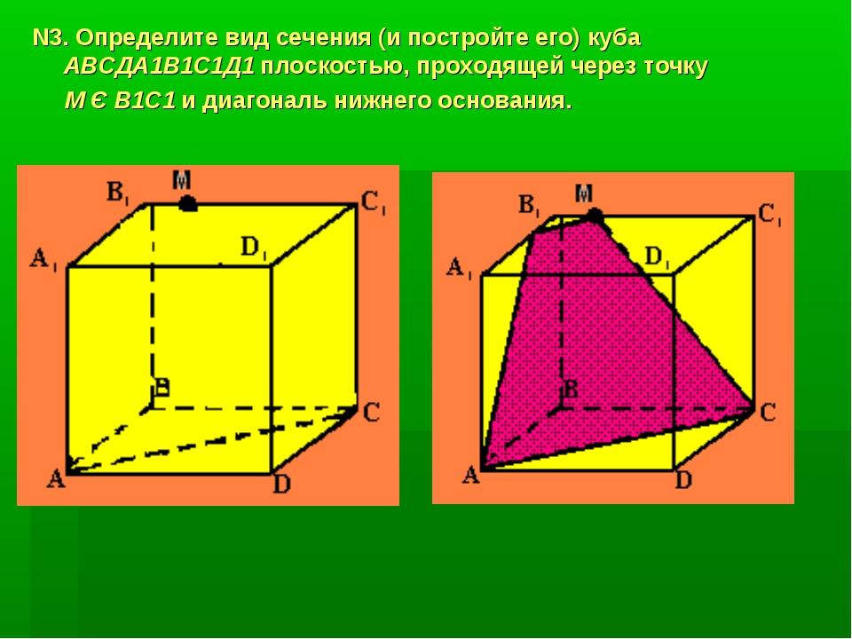 N3. Определите вид сечения (и постройте его) куба АВСДА1В1С1Д1 плоскостью, пр...
