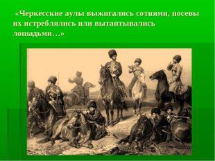 «Черкесские аулы выжигались сотнями, посевы их истреблялись или вытаптывалис
