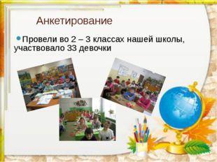 Анкетирование Провели во 2 – 3 классах нашей школы, участвовало 33 девочки