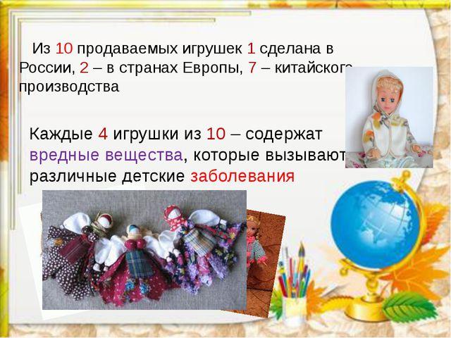 Из 10 продаваемых игрушек 1 сделана в России, 2 – в странах Европы, 7 – кита...
