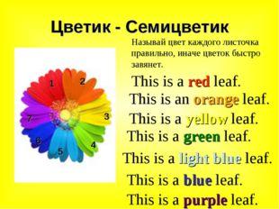 Цветик - Семицветик 1 2 3 4 5 6 Называй цвет каждого листочка правильно, инач