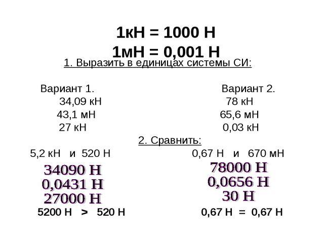5200 Н > 520 Н 0,67 Н = 0,67 Н 1кН = 1000 Н 1мН = 0,001 Н 1. Выразить в едини...