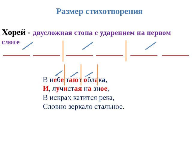 Хорей - двусложная стопа с ударением на первом слоге Размер стихотворения В н...