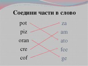 Соедини части в слово pot piz oran cre cof za am ato fee ge