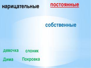 нарицательные собственные девочка слоник Дима Покровка постоянные