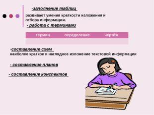 -заполнение таблиц развивает умения краткости изложения и отбора информации.