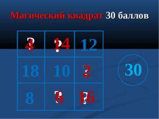 Магический квадрат 30 баллов 12 18 10 30 ? ? ? ? ? 2 16 4 14 6 8
