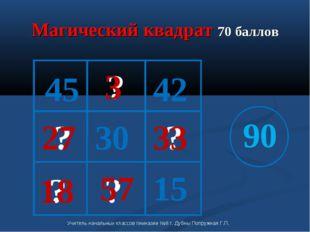 Магический квадрат 70 баллов 15 30 45 90 ? ? ? ? ? 18 3 57 27 33 42 Учитель н