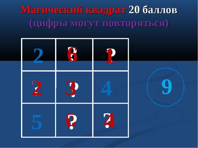Магический квадрат 20 баллов (цифры могут повторяться) 2 5 9 ? ? ? ? ? 2 3 4...