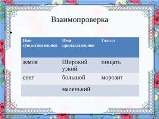 Взаимопроверка Имя существительное Имя прилагательное Глагол земля Широкий у