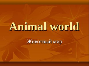 Animal world Животный мир