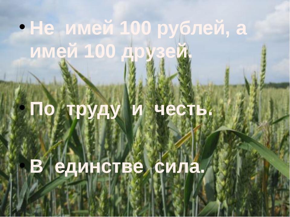 Не имей 100 рублей, а имей 100 друзей. По труду и честь. В единстве сила.