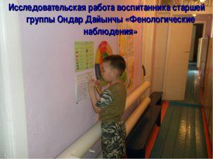 Исследовательская работа воспитанника старшей группы Ондар Дайынчы «Фенологич