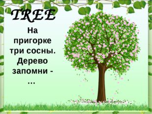 TREE На пригорке три сосны. Дерево запомни - …