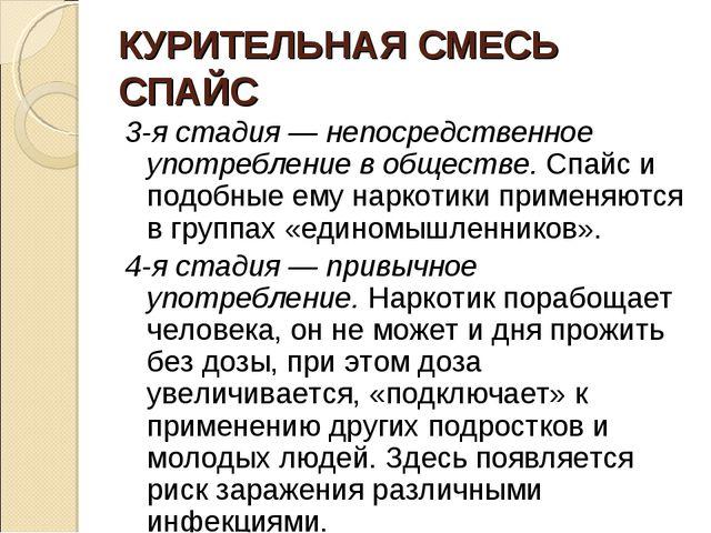 КУРИТЕЛЬНАЯ СМЕСЬ СПАЙС 3-я стадия — непосредственное употребление в обществе...