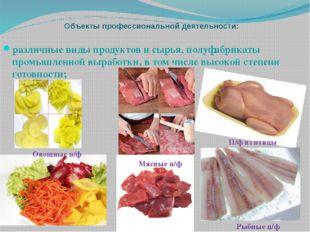 Объекты профессиональной деятельности: различные виды продуктов и сырья, полу