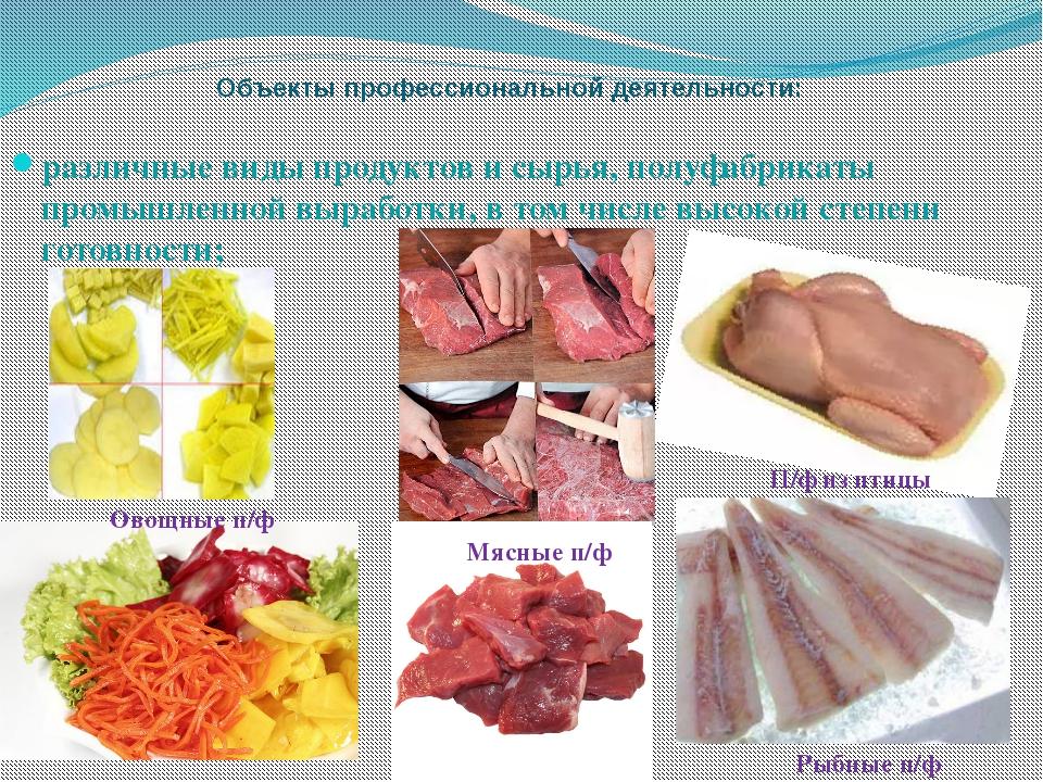 Объекты профессиональной деятельности: различные виды продуктов и сырья, полу...