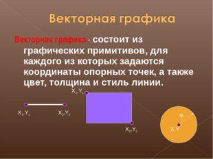 Векторная графика - состоит из графических примитивов, для каждого из которых