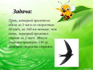 Путь, который пролетела пчела за 3 часа со скоростью 60 км/ч, на 160 км меньш