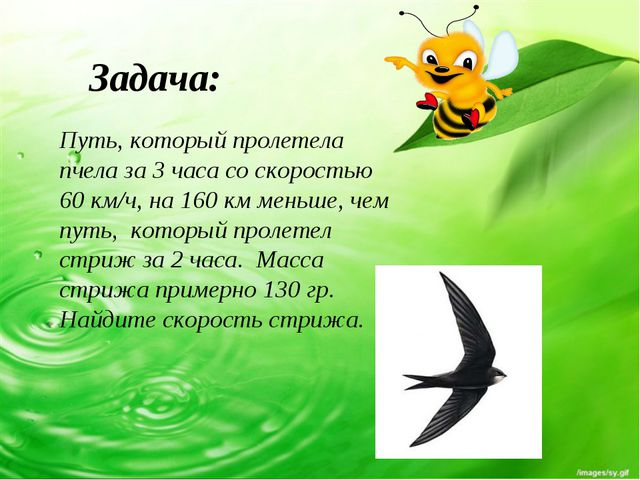 Путь, который пролетела пчела за 3 часа со скоростью 60 км/ч, на 160 км меньш...