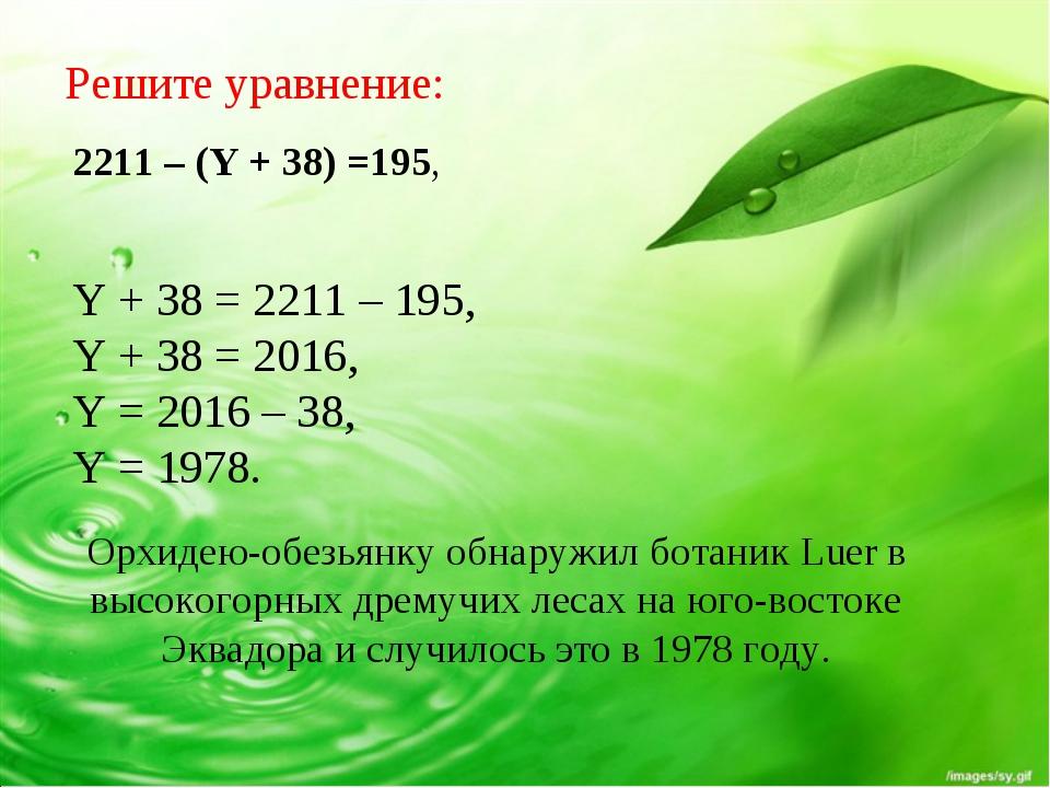 Y + 38 = 2211 – 195, Y + 38 = 2016, Y = 2016 – 38, Y = 1978. Орхидею-обезьянк...