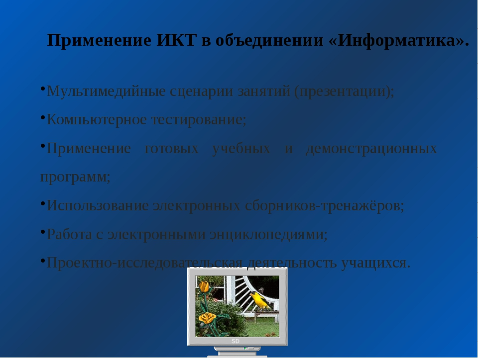 Мультимедийные сценарии занятий (презентации); Компьютерное тестирование; При...