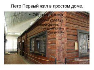 Петр Первый жил в простом доме. А сам Петр Первый жил в простом доме.Входить