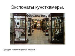 Экспонаты кунсткамеры. Одежда и предметы разных народов. Оружие, инструменты,
