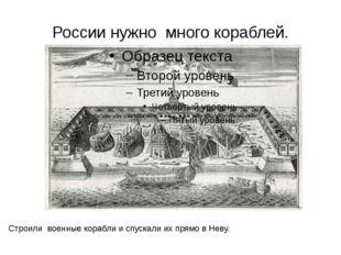 России нужно много кораблей. Строили военные корабли и спускали их прямо в Не