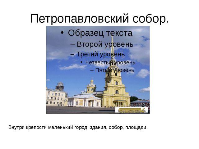 Петропавловский собор. Внутри крепости маленький город: здания, собор, площад...