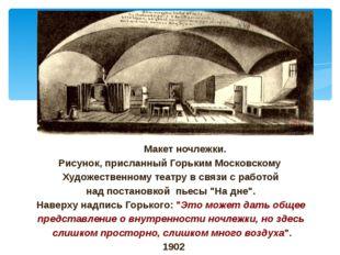 Макет ночлежки. Рисунок, присланный Горьким Московскому Художественному теат