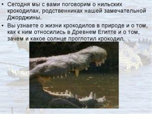 Сегодня мы с вами поговорим о нильских крокодилах, родственниках нашей замеча