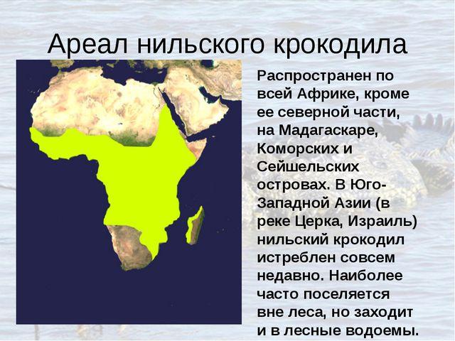 Ареал нильского крокодила Распространен по всей Африке, кроме ее северной час...