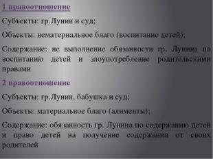 1 правоотношение Субъекты: гр.Лунин и суд; Объекты: нематериальное благо (вос