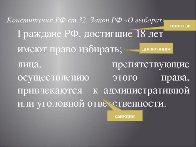 Конституция РФ ст.32, Закон РФ «О выборах» Граждане РФ, достигшие 18 лет им...