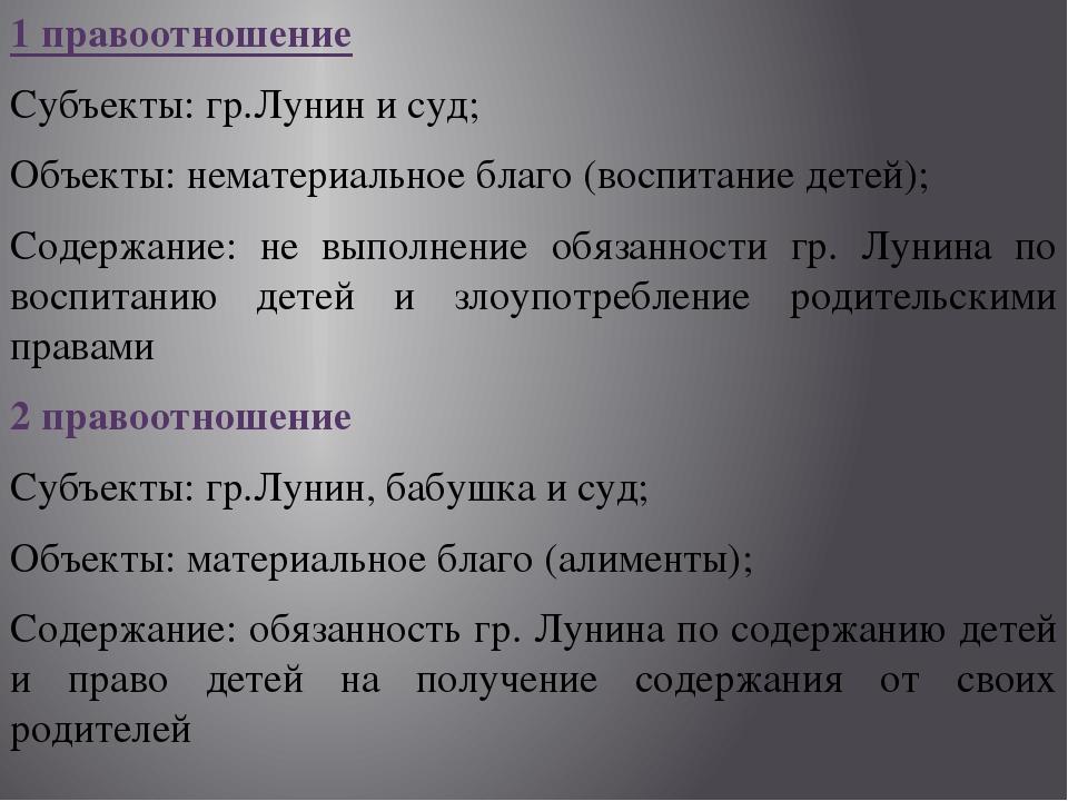 1 правоотношение Субъекты: гр.Лунин и суд; Объекты: нематериальное благо (вос...