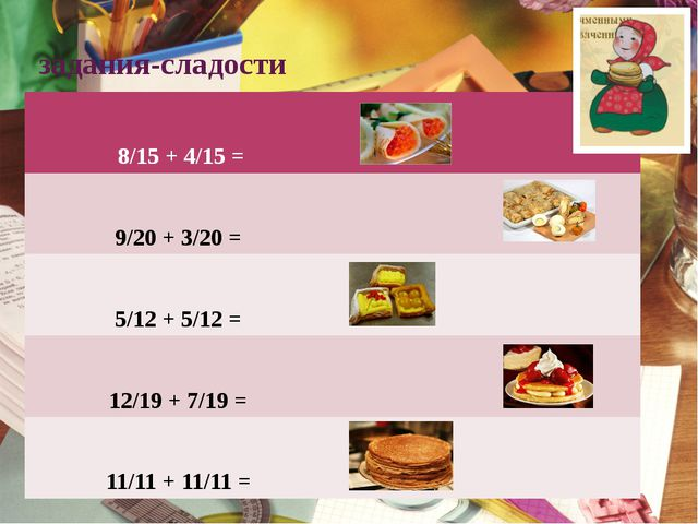 задания-сладости 8/15+ 4/15 = 9/20+3/20= 5/12+ 5/12 = 12/19+ 7/19 = 11/11+ 11...