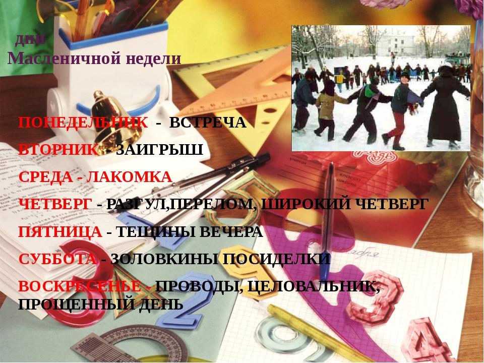дни Масленичной недели ПОНЕДЕЛЬНИК - ВСТРЕЧА ВТОРНИК - ЗАИГРЫШ СРЕДА - ЛАКОМ...