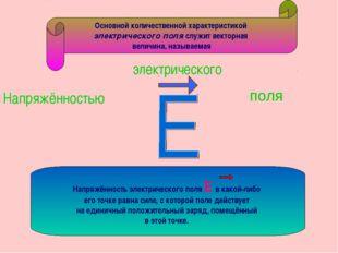 поля Основной количественной характеристикой электрического поля служит векто