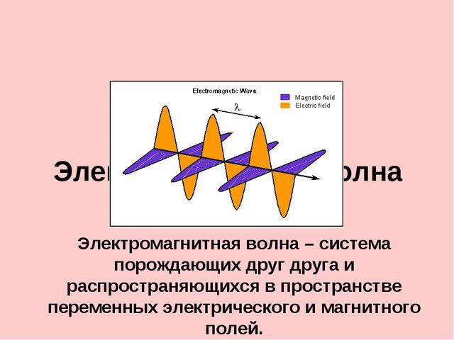 Электромагнитная волна Электромагнитная волна – система порождающих друг друг...