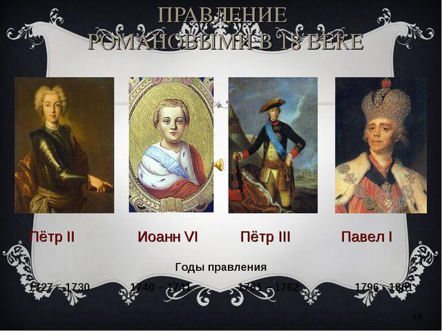 ПРАВЛЕНИЕ РОМАНОВЫМИ В 18 ВЕКЕ * Пётр II Иоанн VI Пётр III Павел I Годы правл...