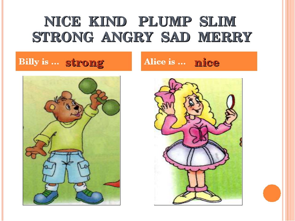 NICE KIND PLUMP SLIM STRONG ANGRY SAD MERRY Billy is … Alice is … strong nice