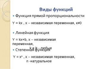 Y = kx , х – независимая переменная, к≠0 Y = kx+b, х – независимая переменная