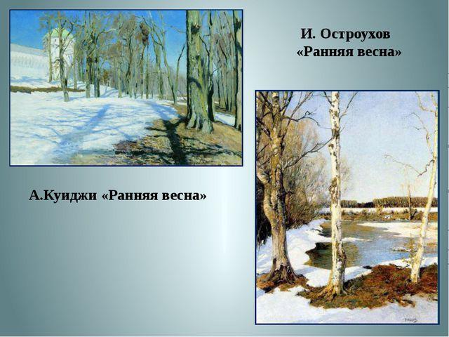 А.Куиджи «Ранняя весна» И. Остроухов «Ранняя весна»