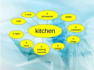 kitchen cups A sink A dishwasher plates A cupboard A fridge A cooker A washin