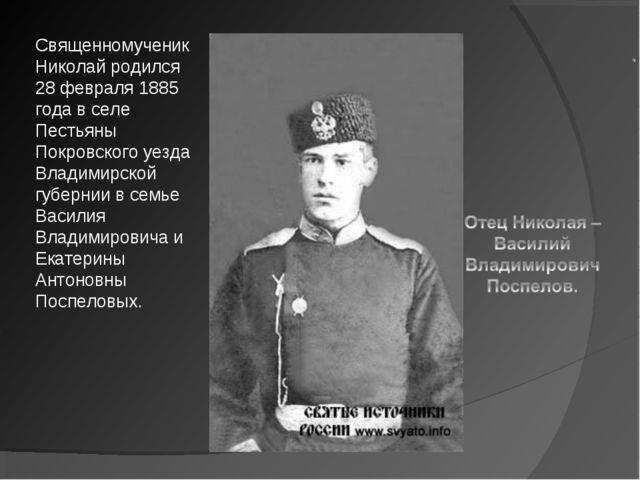 Священномученик Николай родился 28 февраля 1885 года в селе Пестьяны Покровск...
