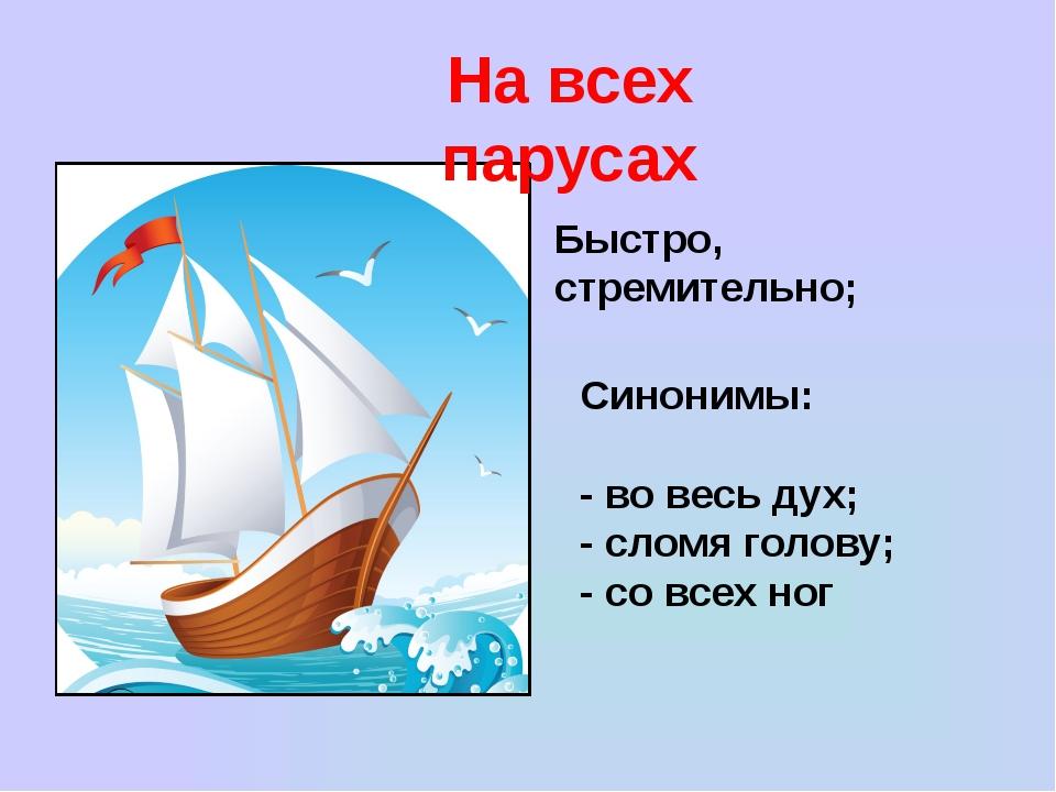 На всех парусах Быстро, стремительно; Синонимы: - во весь дух; - сломя голову...