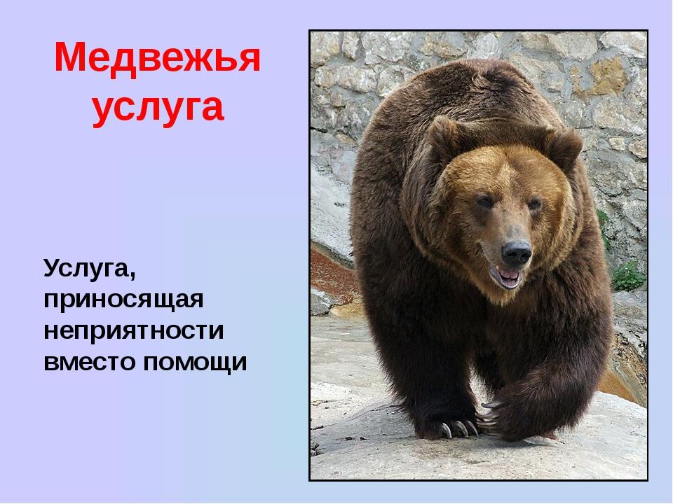 Медвежья услуга Услуга, приносящая неприятности вместо помощи