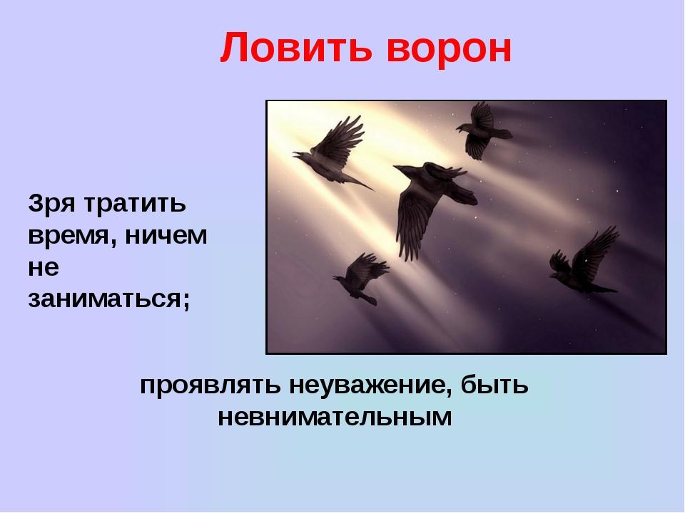 Ловить ворон Зря тратить время, ничем не заниматься; проявлять неуважение, бы...