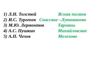 1) Л.Н. Толстой Ясная поляна 2) И.С. Тургенев Спасское –Лутовиново 3) М.Ю. Ле